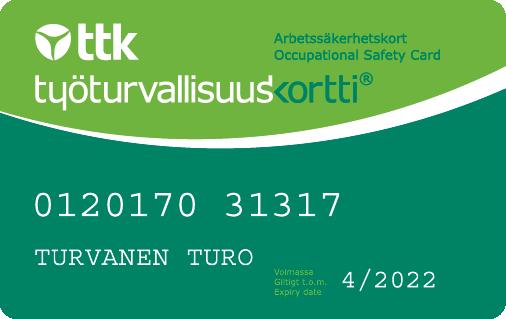 Työturvallisuuskorttia kutsutaan myös vihreäksi kortiksi. Sen saa suorittamalla Työturvallisuuskoulutuksen.